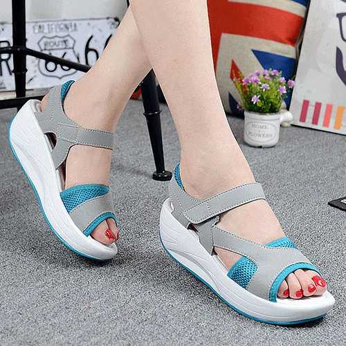 Women Casual Wedge Sandals Breathable Rocker Sole Shoes