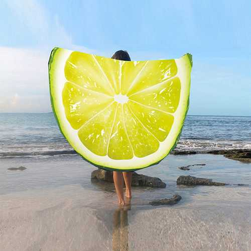 Fashion Women 3D Lemon Watermelon Fruit Printed Beach Towel Round Yoga Mat Shawl