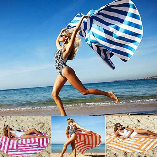Honana WX-991 150cm Bohemian Style Thin Colorful Stripe Beach Mat Mandala Round Silk Scarf Bed Sheet Tapestry