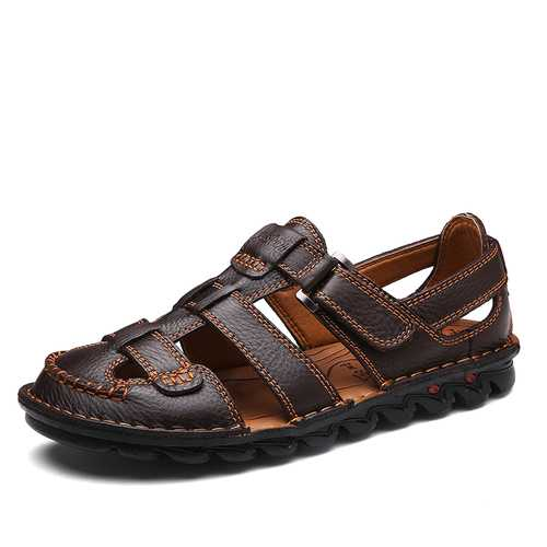 Menico Men Breathable Hook Loop Genuine Leather Sandals