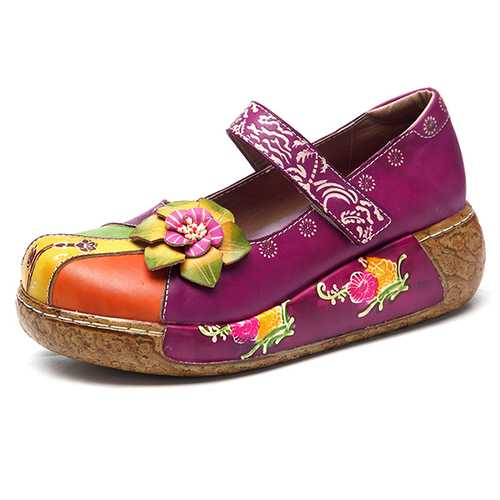 SOCOFY Retro Colorful Leather Shoes