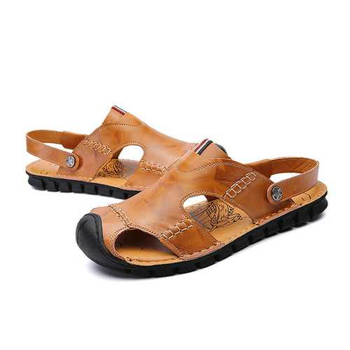 Men Casual Soft Anti Collision Toe Genuine Leather Sandals