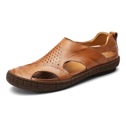 Men Soft Breathable Genuine Leather Hollow Outs Sandals