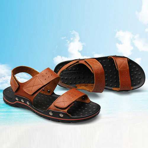 Men Comfy Breathable Genuine Leather Hook Loop Sandals