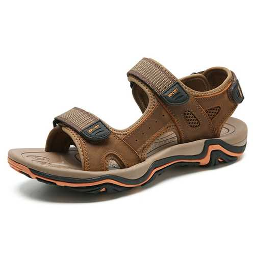 Men Comfy Genuine Leather Breathable Hook Loop Sandals