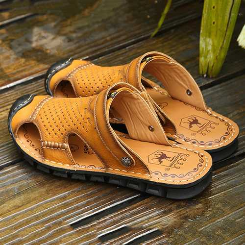 Men Comfy Hollow Outs Leather Two Way Wear Beach Sandals