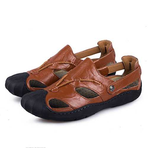 Men Comfortable Anti Collision Toe Genuine Leather Sandals