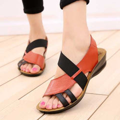 Hollow Out Slip On Leather Flat Sandals