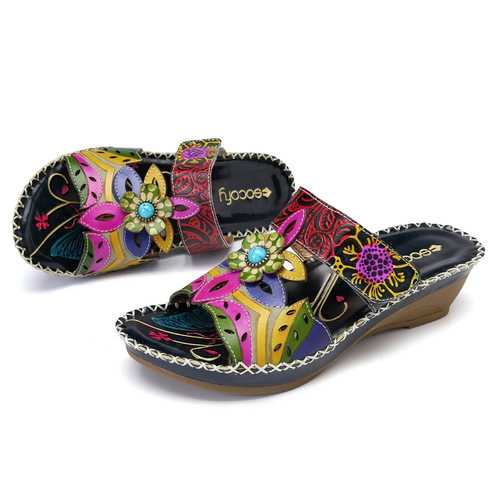 SOCOFY Bohemian Handmade Leather Sandals