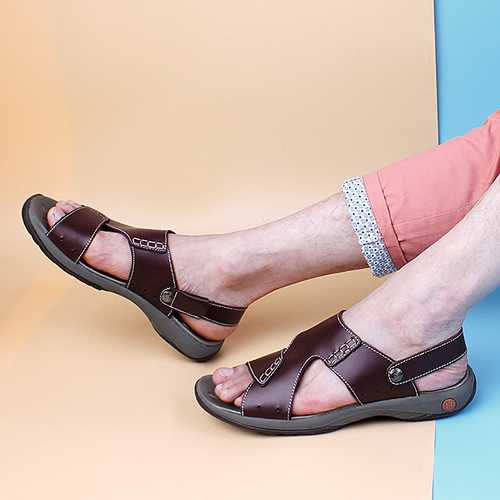 Men Comfy Casual Two Way Wear Leather Sandals