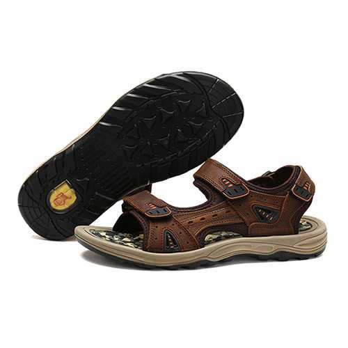 Men Comfy Outdoor Hook Loop Leather Sandals Beach Shoes