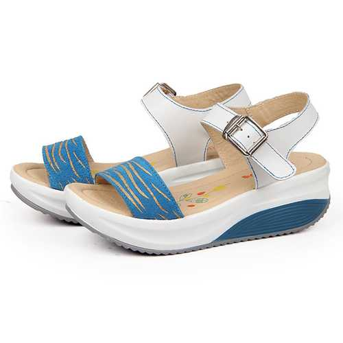 Women Leather Beach Wedge Sandals