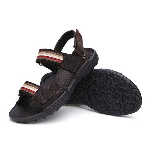 Men Comfortable Leather Hook Loop Sandals