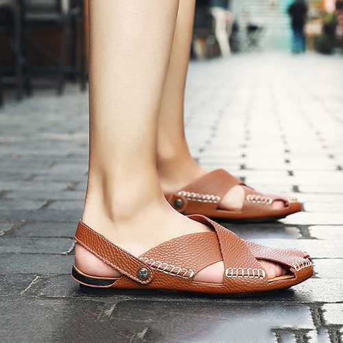 Men Soft Genuine Leather Beach Slippers Sandals Slip On Shoe