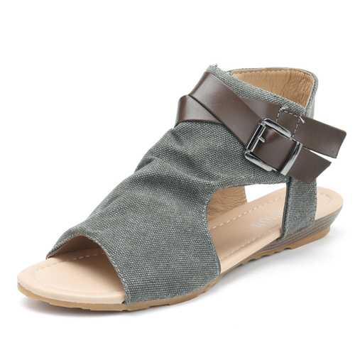 Roman Canvas Buckle Decoration Peep Toe Flat Sandals