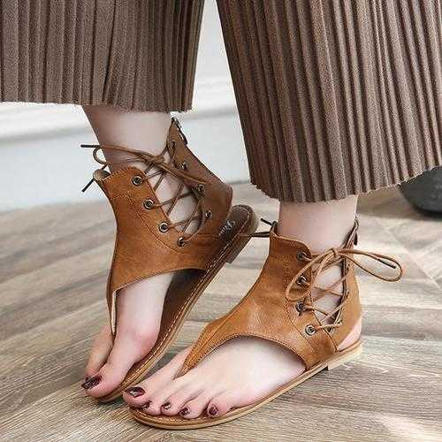 US Size 5-12 Roman Sandals Lace Up Strap Flat Shoes
