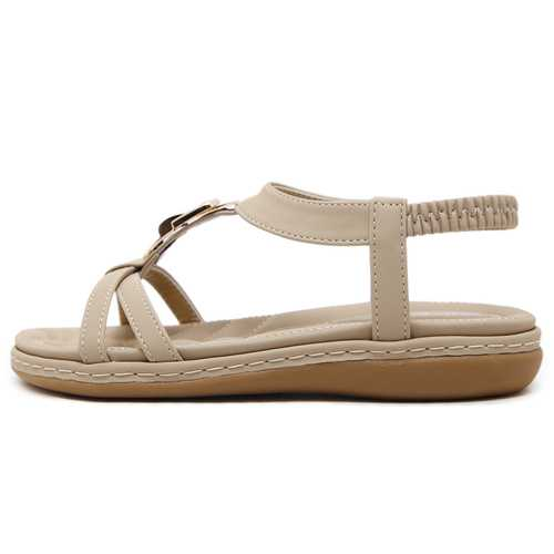 Metal T Strap Slip On Comfortable Soft Flat Sandals