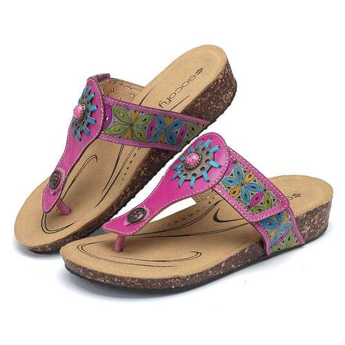SOCOFY Adjustable Comfortable Flat Sandals
