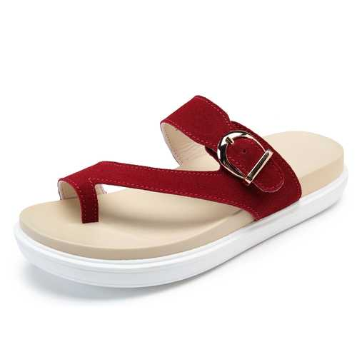 Beach Buckle Clip Toe Flat Flip Flops Sandals