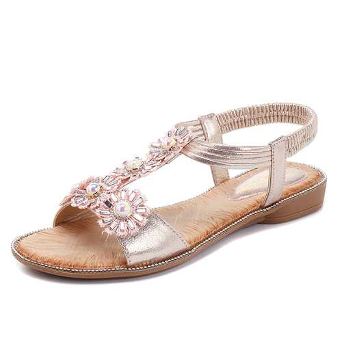 Bohemian Flowers T Strap Casual Comfortable Sandals