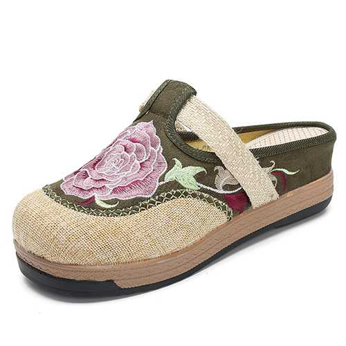 Women Chinese Style Embroidered Floral Casual Sandals