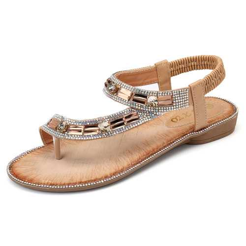 Bohemian Women Rhinestone Flat Sandals Flip Flop Shoes