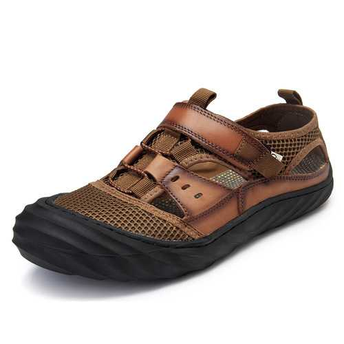 Men Breathable Hook Loop Leather Sandals