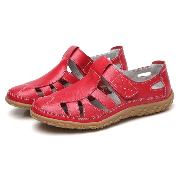 Leather Hollow Soft Hook Loop Causal Flat Sandals
