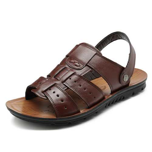 Men Comfy Sole Genuine Leather Two Way Wear Sandals