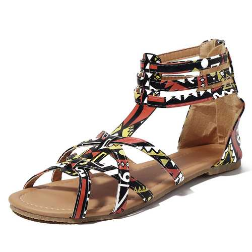 Graffiti Mixed Color Buckle Strap Zip Flat Beach Sandals