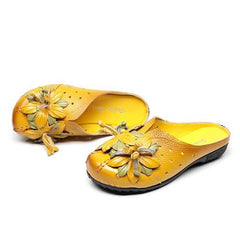 Women Shoes Genuine Leather Flower Soft Flat Sandals