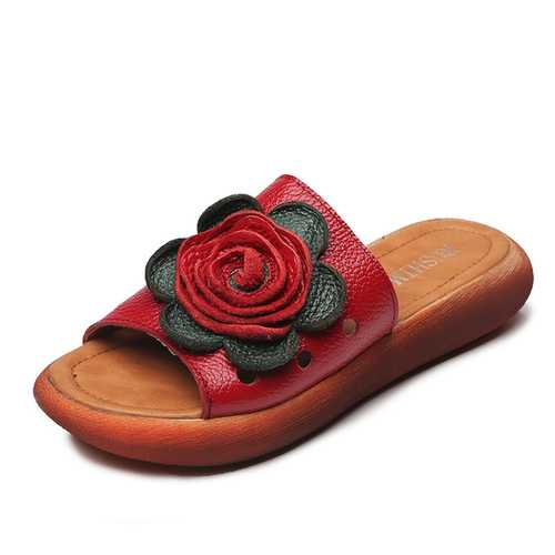 Genuine Leather Hollow Floral Casual Soft Sandals For Women