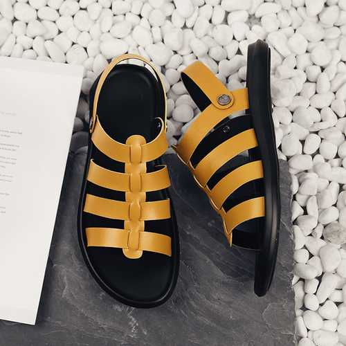 Men Breathable Leather Roman Sandals Two Way Wear Shoes