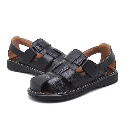 Men Comfy Genuine Leather Sandals Round Toe Open Toe Sandals
