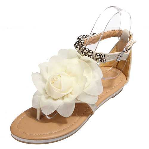 Chiffon Fabric Flower Flats T Straps Sandals Beach Shoes