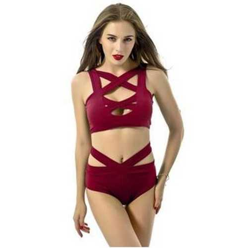 Red Sexy Split Bandage Crossover Bikini Suit