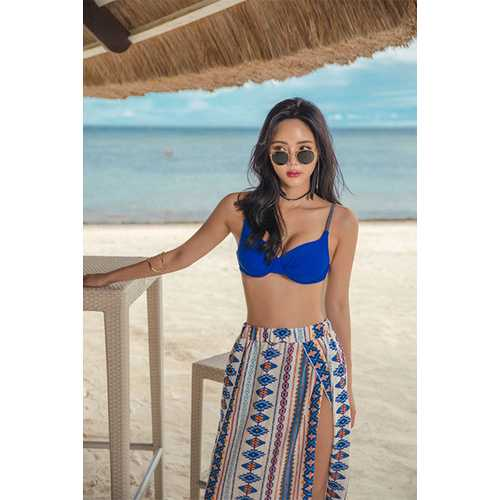 2017 Womens Floral Print Summer Beach Wrap Cover Up Maxi Skirt