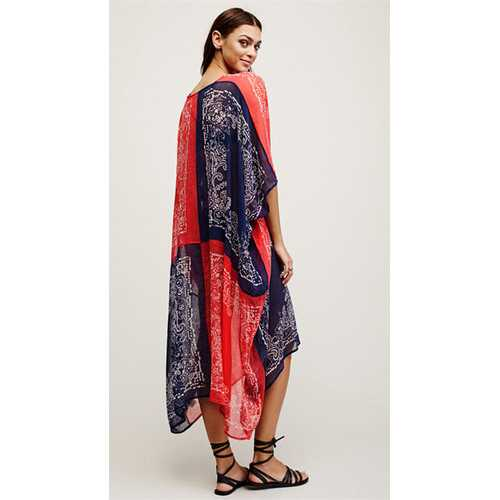 2017 Women's Turkish Chiffon Kaftans Caftan Printed Cover up Tunic Free Size
