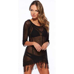 Latest Long Sleeve Swimwear Beachwear Cover Up Black