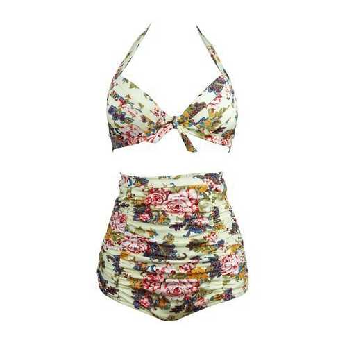 Halterneck Top And High Waist Bottom 2pcs Swimwear With Knot Decorated And Floral Print