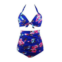 Halterneck Top And High Waist Bottom Foral Print 2pcs Swimwear With Knot Decorated