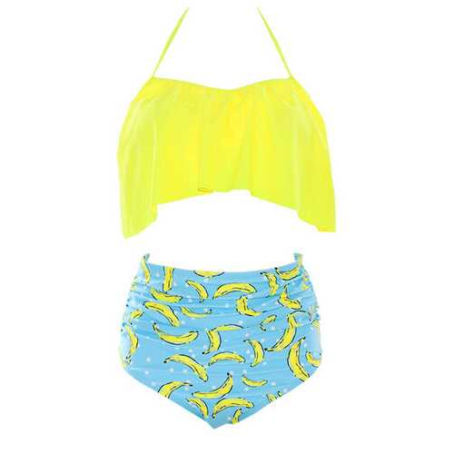 Women Retro Flounce High Waisted Bikini Halter Neck Two Piece Swimsuit