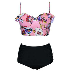 Two Piece Swimsuit Retro Boho Flounce High Waist Bathing Suits