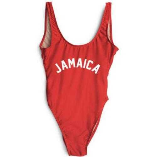Fashion One Piece Letter Printed Bikini JAMAICA