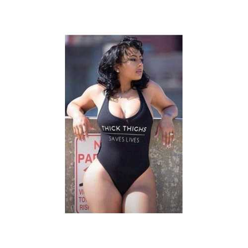 Black One-piece Letter Print Sexy Swimwear THICK THICHS