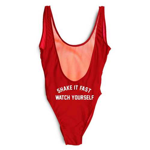 Red One piece leak-back letter printed swimwear SHAKE IT FAST WATCH YOUSELF