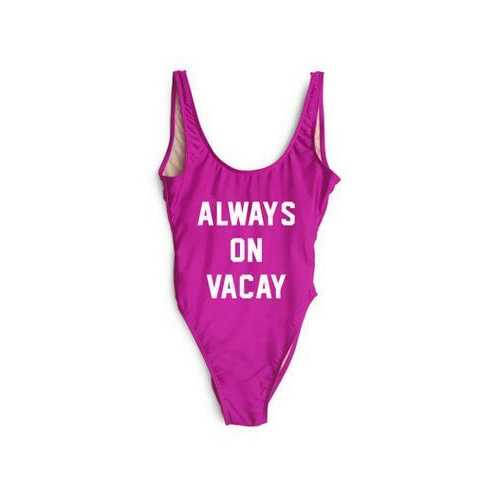 Fashion One Piece Letter Printed Bikini ALWAYS ON VACAY