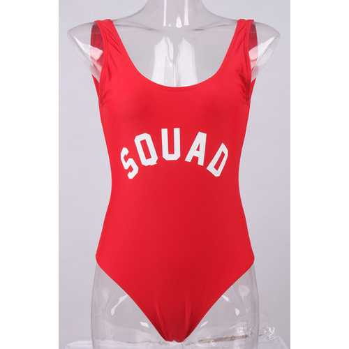 Fashion One Piece Letter Printed Bikini SQUAD Red