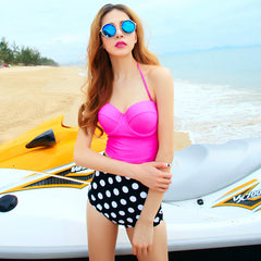 New sexy fashion pink white dots bikini