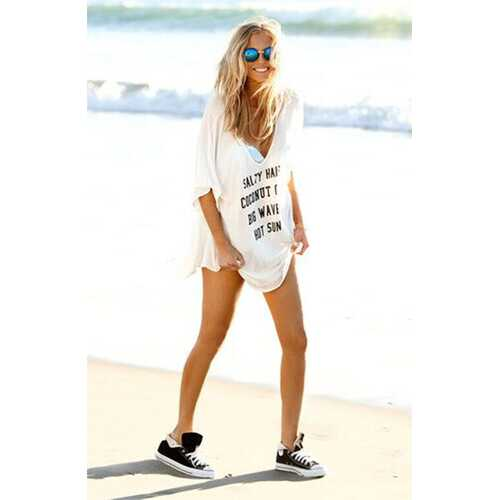 High Quality Newest Printed Loose Beachwear Cover up White
